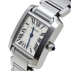 Cartier White Stainless Steel Tank Francaise 3217 Women's Wristwatch 20 mm