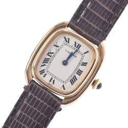 Cartier Silver Yellow Gold Vintage Women's Wristwatch 24 x 27 MM