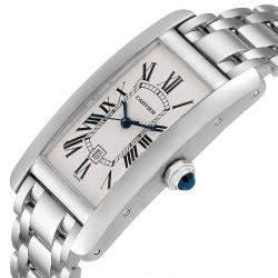 Cartier Silver 18K White Gold Tank Americaine Automatic 1726 Women's Wristwatch 23 x 42 MM