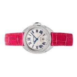Cartier Silver Diamonds 18K White Gold Cle De Cartier WJCL0015 Women's Wristwatch 31 MM