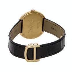 Cartier Silver Diamonds 18K Yellow Gold Ellipse WB601251 Women's Wristwatch 32 x 24 MM