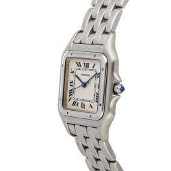 Cartier Silver Stainless Steel Panthere W25032P5 Women's Wristwatch 29 MM