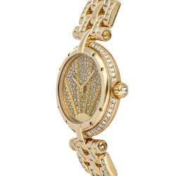 Cartier Champagne Diamonds 18K Yellow Gold Panthere WF5016FJ Women's Wristwatch 23.5 MM