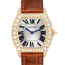 Cartier White Diamonds 18K Yellow Gold Tortue WA503751 Women's Wristwatch 34 x 28 MM
