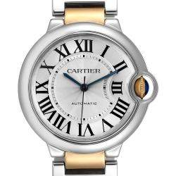 Cartier Silver 18K Yellow Gold And Stainless Steel Ballon Bleu W2BB0012 Women's Wristwatch 36 MM