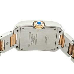 Cartier Silver 18K Yellow Gold & Stainless Steel Tank Anglaise 3704 Women's Wristwatch 26 mm