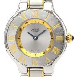 Cartier Silver Gold Plated Steel Must 21 Quartz W10073R6 Women's Wristwatch 28 MM