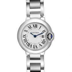 Cartier Silver Stainless Steel Ballon Blue Quartz W69010Z4 Women's Wristwatch 29 MM
