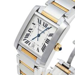 Cartier Silver 18K Yellow Gold & Stainless Steel Tank Francaise 2302 Women's Wristwatch 28 mm