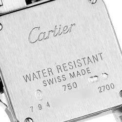 Cartier Silver Diamonds 18K White Gold Santos Demoiselle WF9005Y8 Women's Wristwatch 24 x 24 MM
