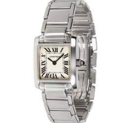 Cartier Silver 18K White Gold Tank Francaise W50012S3 Women's Wristwatch 20 MM