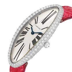 Cartier Silver Diamonds 18K White Gold Baignoire Allongee WB510931 Women's Wristwatch 47 x 21 MM