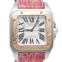 Cartier Cream 18K Rose Gold & Stainless Steel Leather Santos 100 2878 Automatic Women's Wristwatch 33 mm
