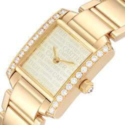 Cartier Silver Diamonds 18K Yellow Gold Tank Francaise WE1023R8 Women's Wristwatch 20 x 25 MM