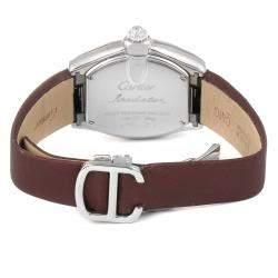 Cartier Silver Diamonds 18K White Gold Roadster WE500260 Women's Wristwatch 31 x 37 MM