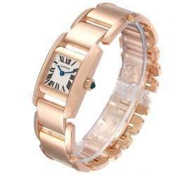 Cartier Silver 18K Rose Gold Tankissime W650048H Women's Wristwatch 30 x 20 MM
