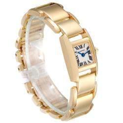 Cartier Silver 18K Yellow Gold Tankissime W650048H Women's Wristwatch 24 x 16 MM