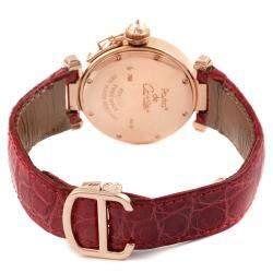 Cartier Silver Diamonds 18K Rose Gold Pasha 2812 Women's Wristwatch 32 MM