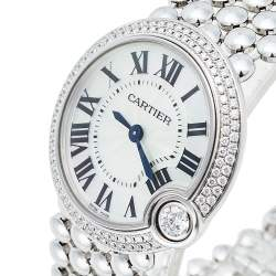 Cartier Mother Of Pearl 18K White Gold Diamonds Ballon Blanc De Cartier 3723 WE902072 Women's Wristwatch 30 mm