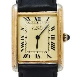 Cartier Vintage Cream Gold Plated Silver Leather Must de Cartier Tank Women's Wristwatch 23 mm