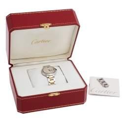 Cartier Silver 18K Yellow Gold And Stainless Steel Diamonds Ballon Bleu 3489 Women's Wristwatch 33 mm