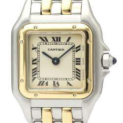 Cartier Silver 18K Yellow Gold And Stainless Steel Panthere De Cartier 166921 Quartz Women's Wristwatch 22 MM
