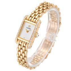 Cartier Cream Diamonds 18K Yellow Gold Tank Louis 1360 Women's Wristwatch 15 MM