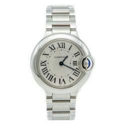 Cartier Ballon Bleu Silver Dial Stainless Steel Ladies Watch 28 MM