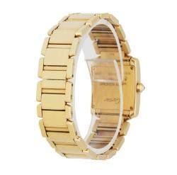 Cartier Silver Diamonds 18k Yellow Gold Tank Francaise 2385 Women's Wristwatch 20 MM