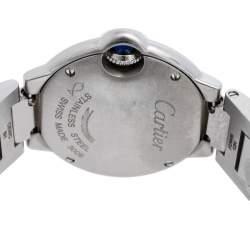 Cartier Silver Stainless Steel Diamonds Ballon Bleu 3009 Women's Wristwatch 28 mm