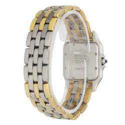 Cartier Silver 18K Yellow Gold And Stainless Steel Panthere 187949 Women's Wristwatch 27 MM