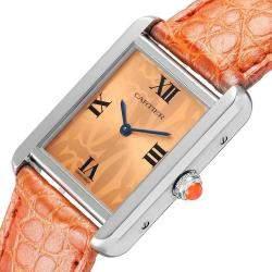 Cartier Orange Stainless Steel Tank Solo Limited Edition W1019455 Women's Wristwatch 30 x 23 MM