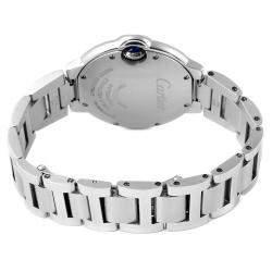 Cartier Silver Diamonds Stainless Steel Ballon Bleu Automatic WE902074 Women's Wristwatch 33 MM