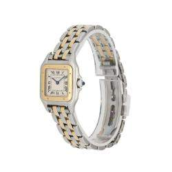 Cartier Silver 18K Yellow Gold And Stainelss Steel Panthere 1120 Women's Wristwatch 22 MM