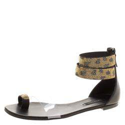 Casadei Two Tone Crystal Embellished Ankle Cuff and PVC Vinil Flat Sandals Size 38.5