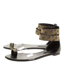 Casadei Two Tone Crystal Embellished Ankle Cuff and PVC Vinil Flat Sandals Size 37
