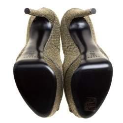 Casadei Glitter Lamé Fabric Daisy Peep Toe Platform Pumps Size 38.5
