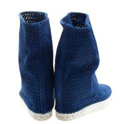 Casadei Cobalt Blue Perforated Suede Wedge Boots Size 36