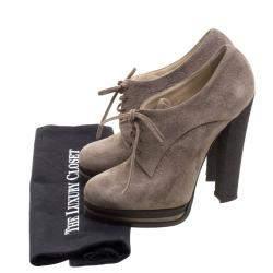 Casadei Brown Suede Lace Up Derby Platform Ankle Boots Size 36