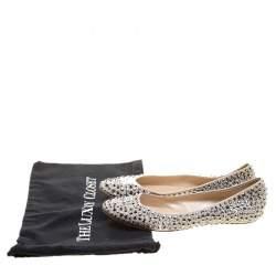 Casadei Beige Crystal Embellished Leather Ballet Flats Size 40