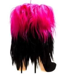 Casadei Black/Pink Fur And Suede Platform Calf Boots Size 40