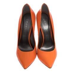 Casadei Neon Orange Patent Leather Blade Heel Pumps Size 37