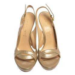 Casadei Beige Leather Cut Out Open Toe Slingback Sandals Size 39