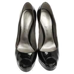 Casadei Black Patent Leather Platform Peep Toe Pumps Size 40