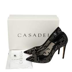 Casadei Black Mesh And Suede Pointed Toe Pumps Size 39