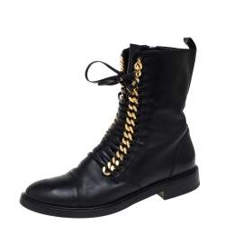 Casadei Black Leather 'City Rock' Ankle Boots Size 41