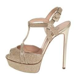Casadei Metallic Golden Gliiter And Lamé Fabric Taglia T-Strap Peep Toe Platform Sandals Size 40