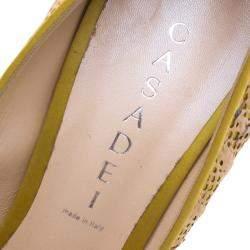 Casadei Tricolor Satin And Cork Lace Peep Toe Platform Pumps Size 40