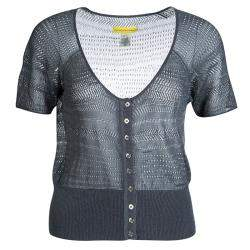 Catherine Malandrino Grey Perforated Knit Button Front Crop Top M