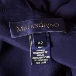 Malandrino Black Silk Plisse Bodice Detail Embellished Sleeveless A Line Dress M